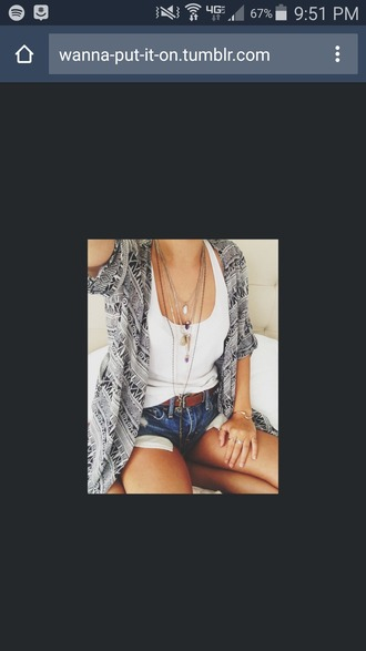 top summer tank top white cute pattern blue ripped jeans shorts necklace jewelry
