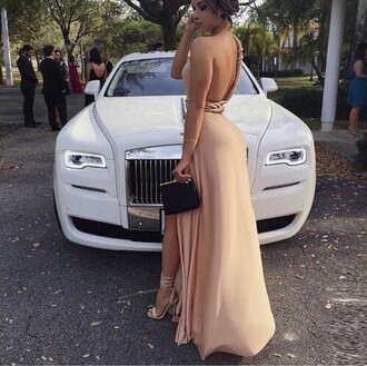 dress beige nude cream formal prom long slit pretty heels backless dress nude dress backless