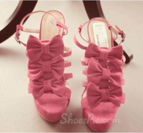 Gorgeous Pink Suede Three Bowtie Peep Toe High Heel Sandals