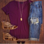 shoes,oxblood,ripped jeans,strappy sandals,jeans,fashion,style,girl,casual,sandals,brown,necklace,jewelry,boyfriend jeans,sunglasses,summer,fall outfits,spring,outfit,love,teenagers,burgundy,blue jeans,blue,ripped,cute,trendy,denim,girly,hipster,girly wishlist