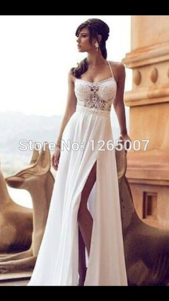 Aliexpress.com : Buy Spaghetti Traps See Through Lace Top Slit A Line Beautiful Wedding Dress Bridal Summer from Reliable dress cufflinks suppliers on SFBridal