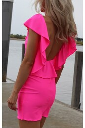 pink dress,dress,pink,short dress,open back,neon pink dress