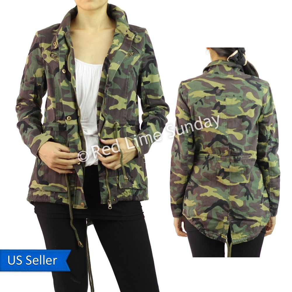 Women camouflage army cotton military jacket coat rider zip button drawstring