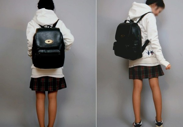 bag gold buckle leather black black school bag