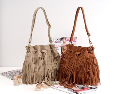 HOT Faux Suede Fringe Tassel Shoulder Bag Womens Handbags Messenger Bag  Free Shipping 40002-in Shoulder Bags from Luggage & Bags on Aliexpress.com