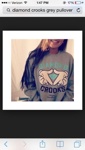 hoodie grey diamond supply co. crooks and castles diamond supply white hands