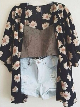 white black cardigan floral pullover