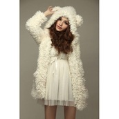white,fur,teddy bear,jacket,coat,sweater,cute,kawaii,fall outfits,fashion,girly,clothes,winter sweater,cardigan