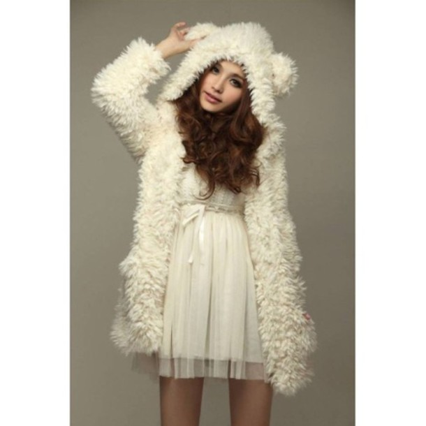 white fur teddy bear jacket coat sweater cute kawaii fall outfits fashion girly clothes winter sweater cardigan