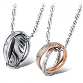 jewels,lover necklaces,evolees.com,DOUBLE RING STYLE PENDANT STAINLESS STEEL NECKLACES FOR LOVER,ring style necklaces for lovers,titanium steel couple necklace