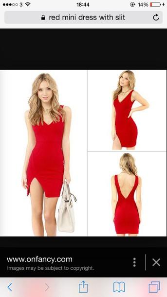 dress short red dress slit dress