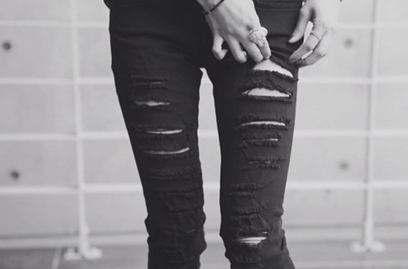 jeans black ripped skinny jeans pop punk rock
