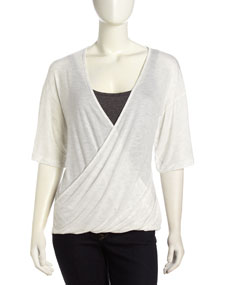 Three Dots Wrap-Front Dolman Sleeve Tee, White - Neiman Marcus Last Call