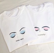 shirt,totalmess,crybaby,tumblr,eyes,pink,blue,white,t-shirt,kanye west,tweet,twitter,graphic tee,t shirt print,instagram,print,wish,friends