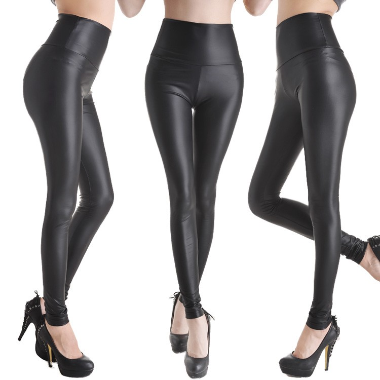 Sexy Women Faux Leather Stretch High Waist Leggings Pants Tights 4 Size 19 Colors on Luulla