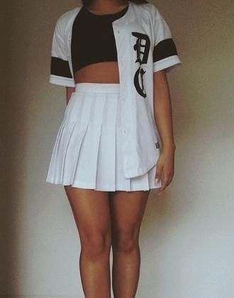 skirt white tennis skirt pleated skirt baseball jersey instagram top shirt white pleated tennis black and white shirt