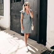 dress,tumblr,blue dress,denim dress,midi dress,sleeveless,sleeveless dress,sneakers,white sneakers,low top sneakers,sunglasses,bag,shoes