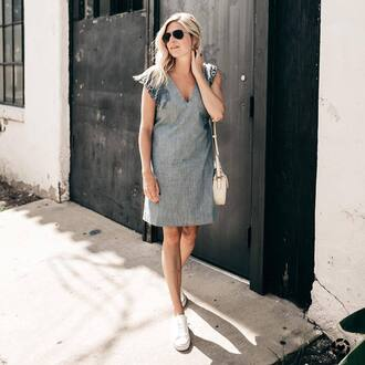 dress tumblr blue dress denim dress midi dress sleeveless sleeveless dress sneakers white sneakers low top sneakers sunglasses bag shoes