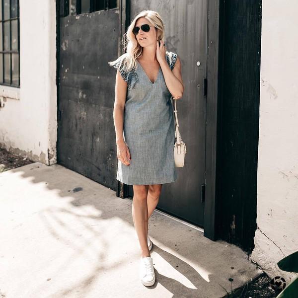d5bba56e0ccf dress tumblr blue dress denim dress midi dress sleeveless sleeveless dress  sneakers white sneakers low top