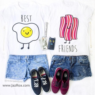 t-shirt jazrox egg bacon food bff bff shirts bff t-shirts matching set matching shirts kawaii tumblr white top lookbook tumblr girl trendy girl girly cool instagram christmas best friends burger and fries swag dope quote on it neon pastel fashion summer back to school pretty beach urban beautiful hot glitter love pale kawaii grunge heart style me best bitches alternative