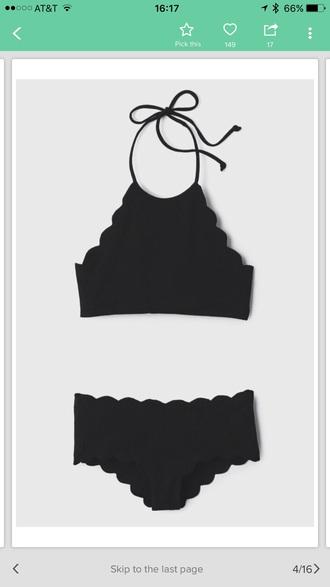swimwear swimwear two piece bikini black scalloped black bikini