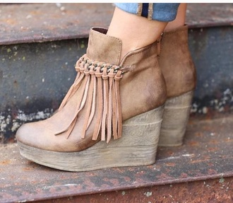 shoes camel wedge booties with fringe