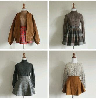 blouse yellow sweater mustard sweater grey sweater sweater comfy winter sweater winter outfits fall outfits fall sweater plaid skirt skirt high waist skirts skirts and tops