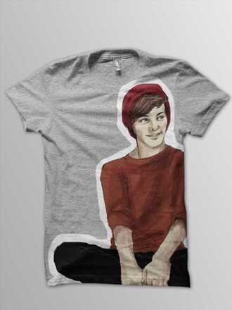 t-shirt louis tomlinson one direction grey red white