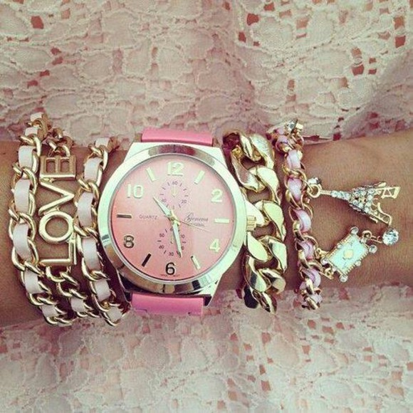 jewels charm bracelet pink watch silver gold
