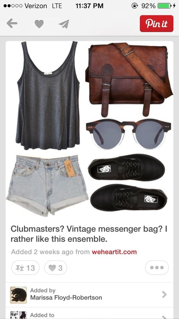 shirt tank top flowy shorts sunglasses bag