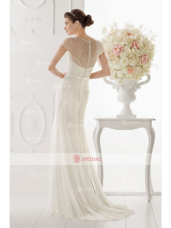 Sheath/Column V-Neck Buttons Natural Chiffon Cap Sleeves Wedding Dresses