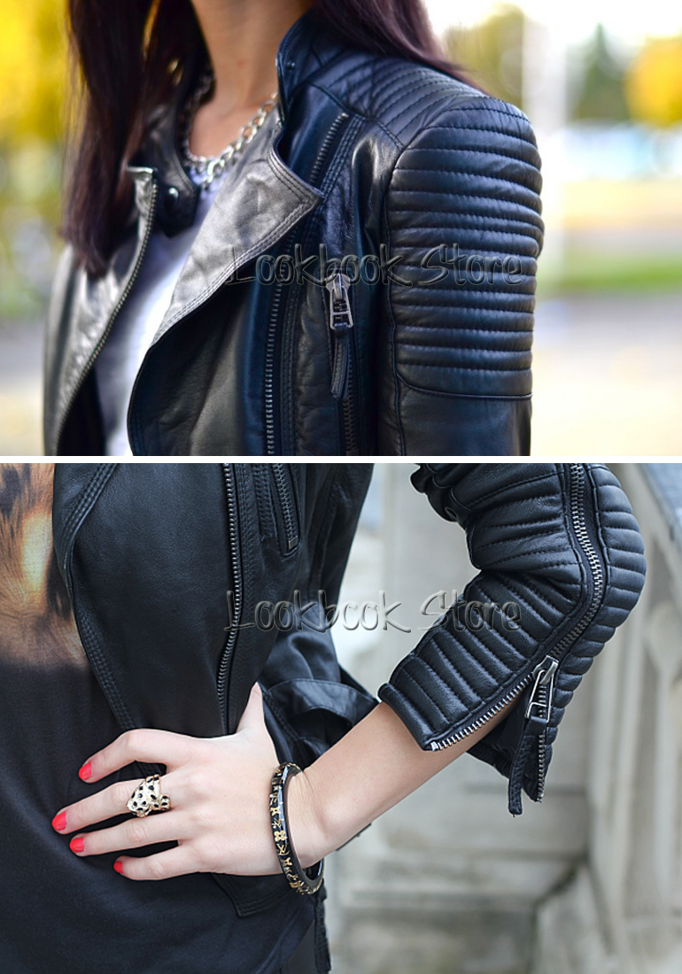 Womens leather jacket with quilted shoulders