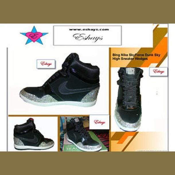 4b9a9f19e679 shoes bling rhinestone nike sky force dunk wedge sneaker nike nike shoes  nike dunk wedges nike