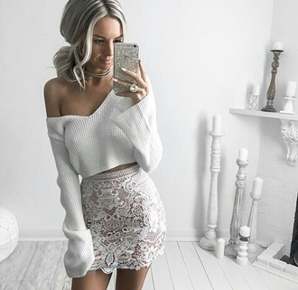 top sweater crop cropped sweater white white lace skirt lace skirt lace off the shoulder off the shoulder sweater
