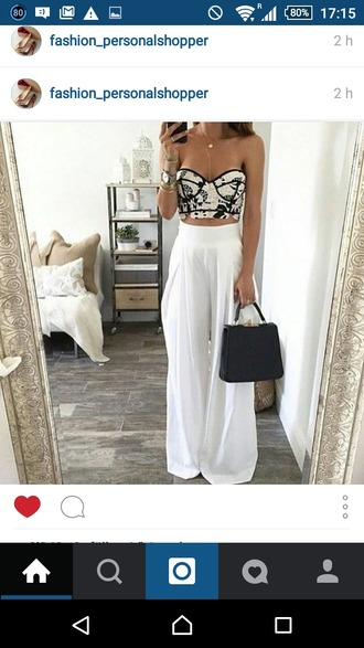 top crop tops cropped maxi skirt white skirt leather bag white loose pants jewels jewelry pants