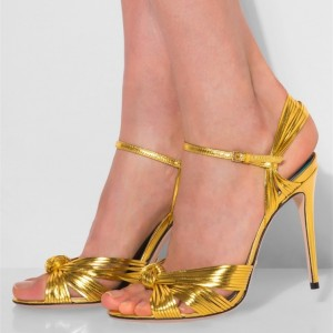 Gold Stiletto Heel Slingback Sandals Prom Shoes