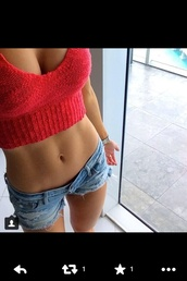 tank top,wool,crop tops,wool crop top,red crop top,wool top,knitted top,shirt,pink,red,hipster,girly,girly grunge,tumblr girl,shorts,blouse,top,cropped,belly top,wooly,summer top,short