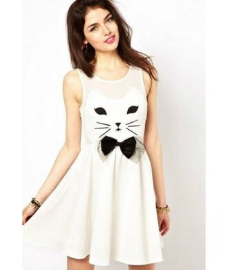 dress cats sleeveless dress white dress skater dress hipster kawaii it girl shop cute pastel cat dress