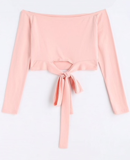blouse girly pink off the shoulder off the shoulder top crop tops crop cropped