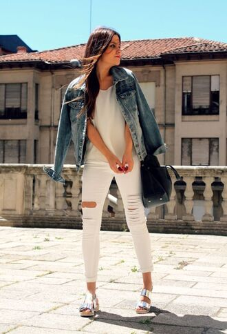 shoes silver sandals sandals flat sandals silver low heel sandals jeans ripped jeans white jeans top white top denim jacket jacket blue jacket spring outfits