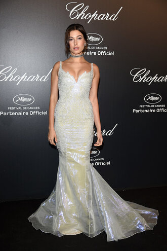 dress gown prom dress wedding dress hailey baldwin cannes red carpet dress