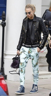 pants,blue,pineapple,summer,cara delevingne,jacket,shoes