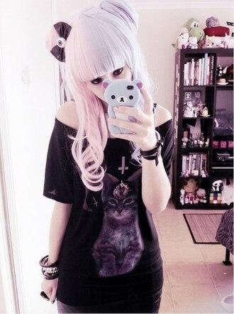 shirt creepy cute creepy eye cats purple lilac cross catwang creepy pastel goth