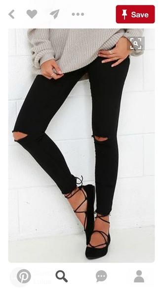 shoes jeans laces ballet flats black
