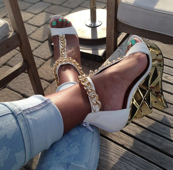 shoes white gold wedges
