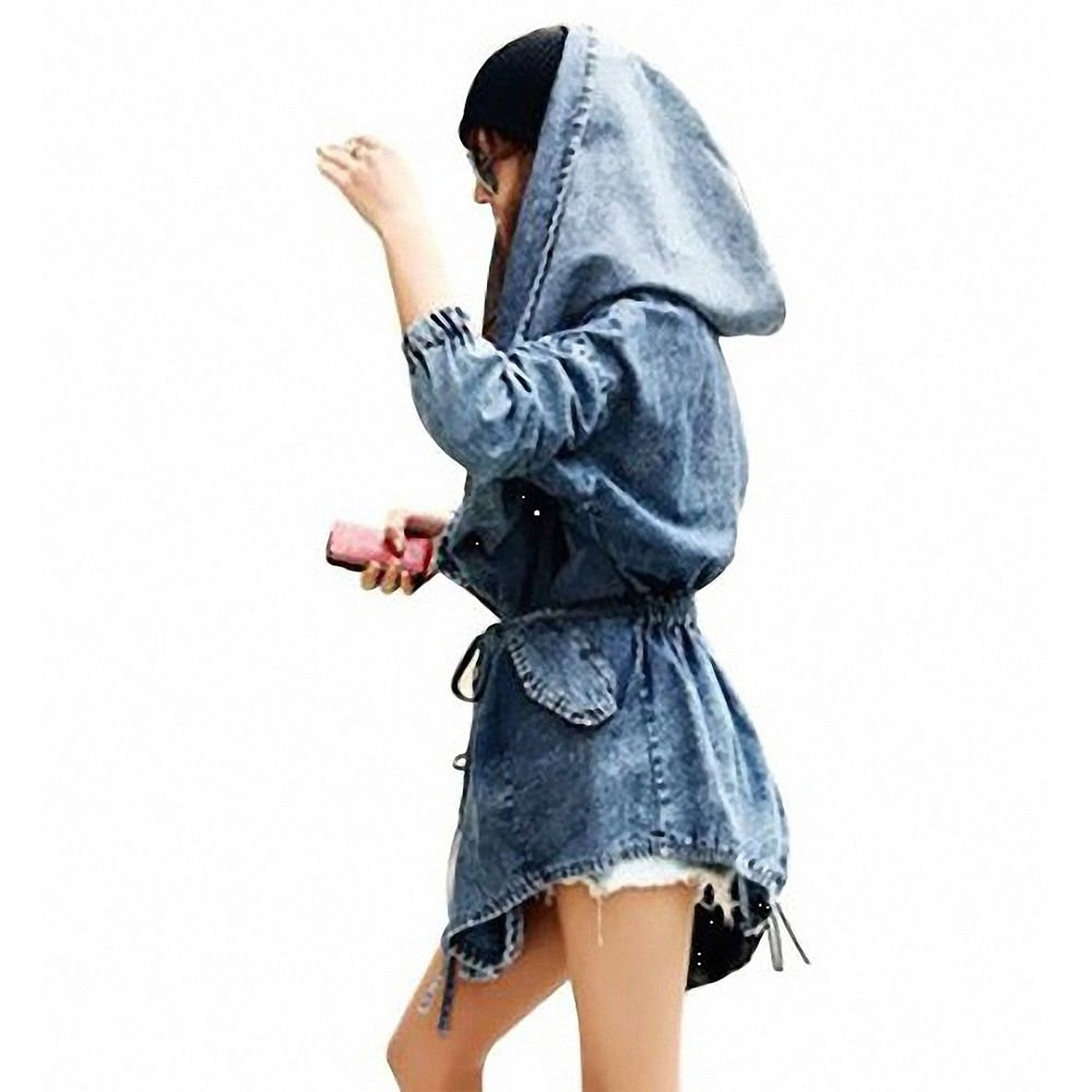 DJT Women's Denim Trench Coat Hoodie Outerwear Hooded Jeans Jacket at Amazon Women's Coats Shop