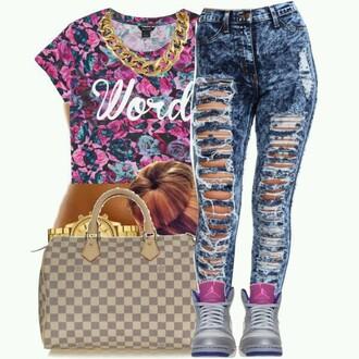 jeans pink floral gold