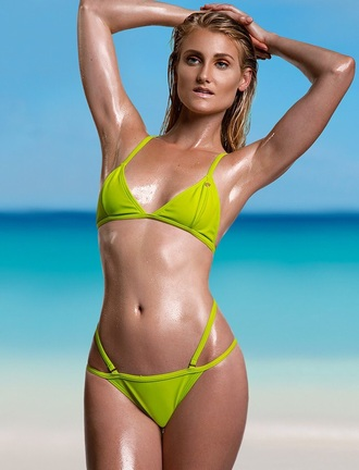 swimwear bikini bikini bottoms strappy neon green
