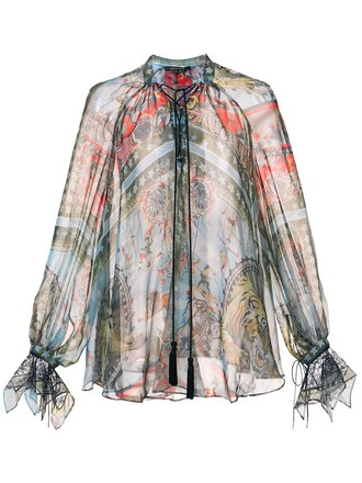 blouse drawstring blue top
