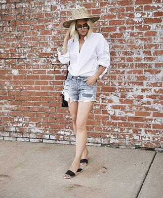 shirt hat tumblr white shirt denim denim shorts shorts shoes slide shoes sun hat